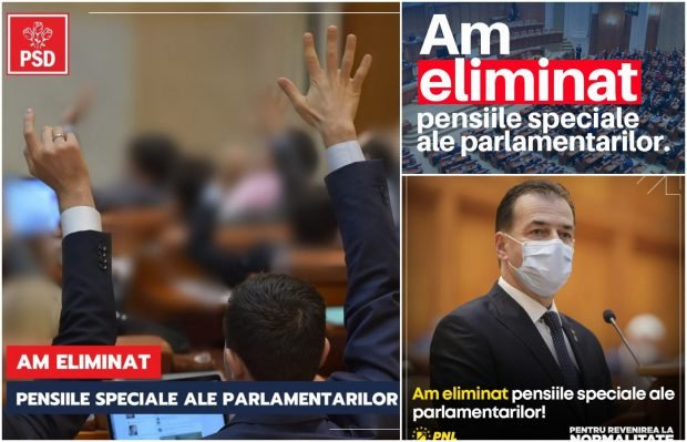 FOTO   Cum se laudă PSD, PNL și USR-PLUS că au eliminat pensiile speciale ale parlamentarilor. Mesaje la indigo pe Facebook