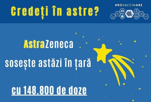 """""""Credeți în astre?"""", gluma cu care CNCAV anunță că aproape 149.000 de vaccinuri de la AstraZeneca ajung în România"""