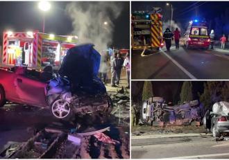Opel făcut praf de un BMW scăpat de sub control, pe un drum din Bihor. Un băiat de 19 ani a murit pe loc