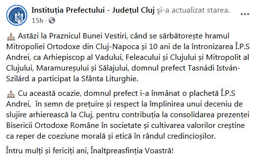 Szilard Tasnadi, prefectul Clujului, fără mască de protecție la întâlnirea cu ÎPS Andrei. Reacția instituției: a scos poza de pe Facebook
