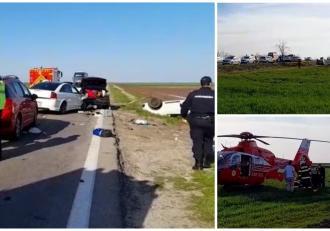 Accident cumplit cu trei mașini, la Vităneşti, în județul Teleorman. Un copil de 2 ani a fost preluat de elicopterul SMURD