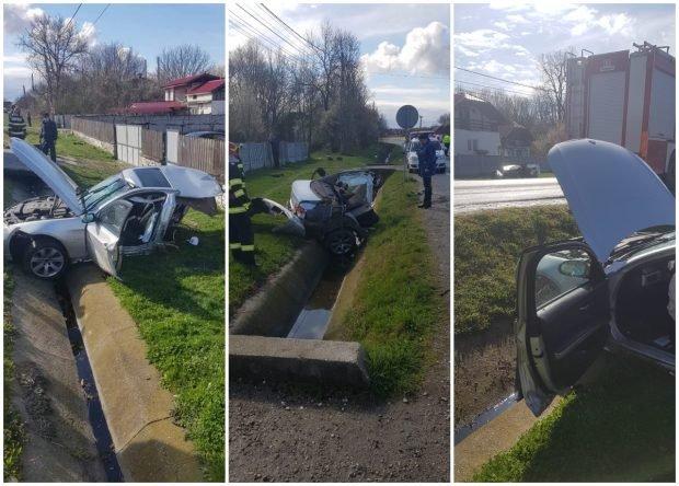 BMW rupt în două, în Gorj, jumătate de mașină a zburat peste drum
