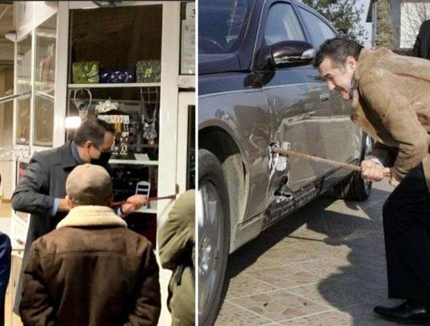 Alte lucruri făcute cu ranga în România: Gigi Becali și-a reperat limuzina de lux Maybach cu drugul