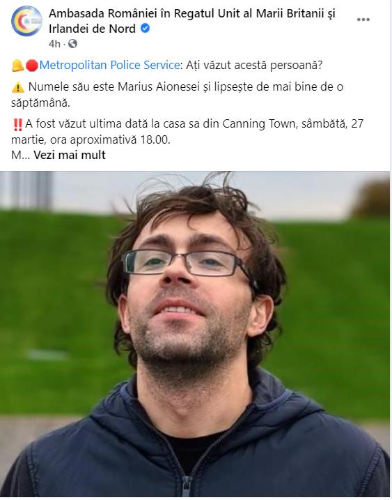 """Un român din Marea Britanie este căutat de Poliția Metropolitană. """"Dispariția lui este neobișnuită"""""""