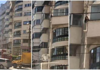 O joacă pe balcon se putea transforma într-o tragedie. Cum a fost filmată o fetiță de opt ani din Baia Mare