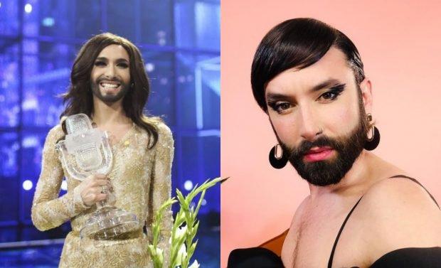 Conchita Wurst, câștigătorul Eurovision 2014, în lenjerie intimă. Promovează brandul de haine al Rihannei